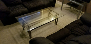 Three Piece Glass Table Set For Sale