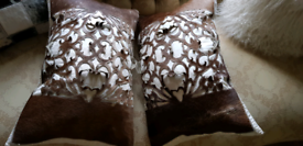 COWHIDE LEATHER CUSHIONS X2