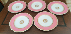Copelands China dinner plates, bright pink and gold 25cm