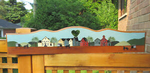 """Tole Painted VILLAGE SCENE Wood Outdoor Sign - 37"""" x 8"""