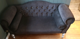 Small Chesterfield Style Black Sofa