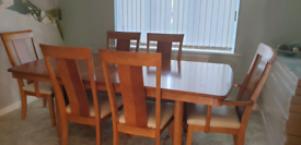 Dining room table solid wood extender massive reduction