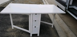 IKEA WHITE FOLDABLE TABLE WITH DRAWERS