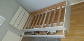 Single bed frame in white with drawer