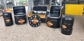 Oil drum clocks seats chairs and benches Harley Davidson motorbike