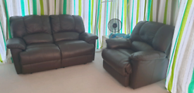 Recliner Leather Suite (two seater and a chair)