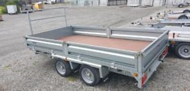 New 12x6'6'' Indespension builders flatbed trailer with dropsides spar