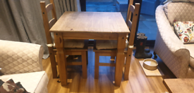 Pine table with 2 chairs