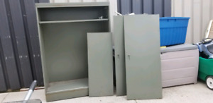 Metal Cabinet with doors  and 2 shelves