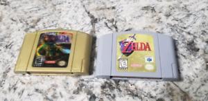 Nintendo 64 zelda ocarina of time and majoras mask collectors