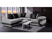Brand New Corner and 3+2 Seater Dino Crushed Velvet sofa in Black/Silver and Brown/Beige Colours