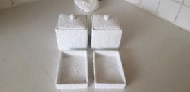 White Raised Floral Ceramic Pot and Soap Dish Set