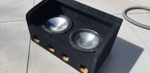"""Two 10"""" Subwoofers in box with plexiglass"""