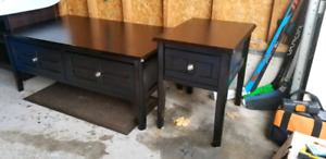Black wood coffee table and end table