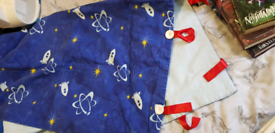 large hand made baby/toddler taggy blanket