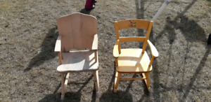 Wooden kids rocking chairs