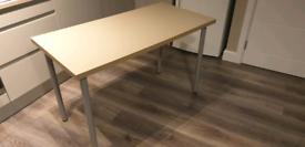 IKEA LINNMON beige desk/ table top 120cm with 4x grey ADILS legs.