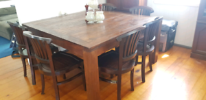 Dining table 6 chairs - large, solid wood