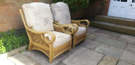 2 large wickervand bamboo chairs