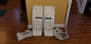 simmons goalie pads blocker glove 34+2  pro.