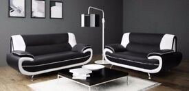 GET IT NOW- NEW CAROL LEATHER 3+2 SEATER SOFA IN BLACK AND RED / GREY AND WHITE COLOR
