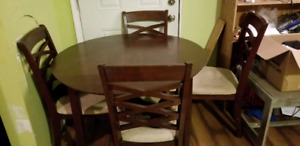 Small cherry wood kitchen table with 4 chairs
