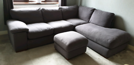 **R.R.P. £1100** Chunky GREY Corner Sofa WITH Storage Footstool
