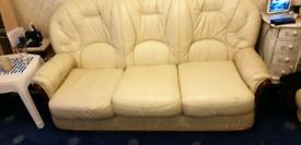 3 piece suite - cream leather