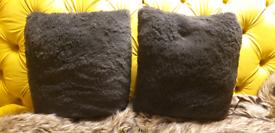 Grey faux fur cushions