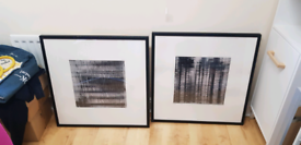 Large square black picture frame pair