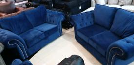 Blue plush velvet Chesterfield 2+2 Seater sofa set New free local deli