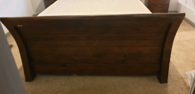 Reclaimed Wood Sleigh Bed and 2 Bedside Cabinets
