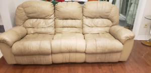 SELLING ::: LAZBOY leather couch 3 set BEIGE
