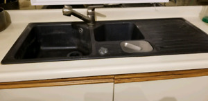 Blanco double sink with garbage disposal chute and drying area