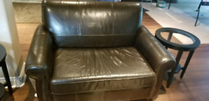 Leather pull out couch loveseat