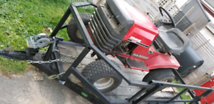 4x8 utility trailer, race tractor & parts mower w/ cutting deck