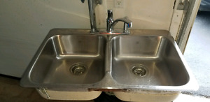 Double Stainless Steel Sink with Taps