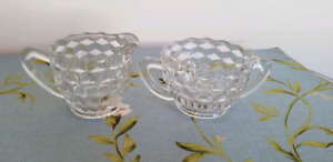 Vintage Depression Glass Creamer and Sugar Bowl