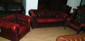 Lovely 3 pieces quality ox blood buffalo leather chesterfield 3+1+1