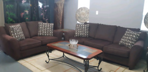 Brown fabric  sofa set (3+2)/delivery available