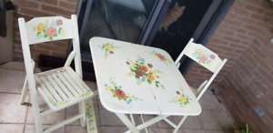 Cute Hand-Painted Vintage Patio Set (Table with 2 Chairs)