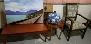 Coffee table, side table, accent chair, vase and picture frame