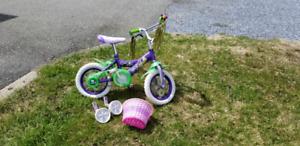 "12"" Tinkerbell Bike w/ training wheels & basket"