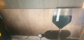 Glass splash back, Wine glass and bottle