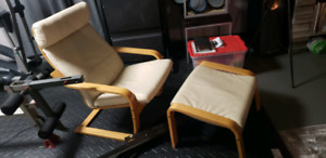 IKEA Poang leather chair and foot stool