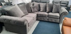 Plush velvet grey corner sofa