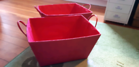 2 x red fabric storage trays/boxes