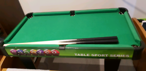 Mini billiard table, table hockey, table soccer.