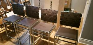 Chaises en cuir pour comptoir lunch