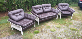 Retro Leather Sofa and Chairs 1960s